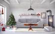 Skandinavisches, nordisches Wohnzimmer mit einem Sofa, Kamin und weihnachtlicher Deko.