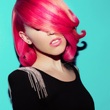 Sensual Beauty Model. Lady Hollywood. Retro. Colored Hair Style
