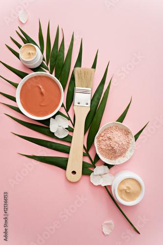 aromatherapy theme , handmade cosmetic. flat lay