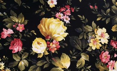 yellow peony and pink daisy design on black fabric