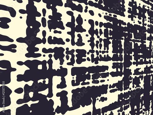 Obraz Abstract grunge vector background, Monochrome distorted composition of irregular overlapping graphic elements.