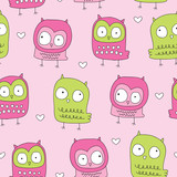 seamless owl bird pattern vector illustration