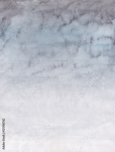 Watercolor Background with Light Gray and White Sky - 121386762
