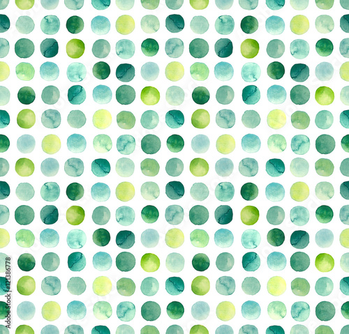 Cotton fabric Watercolor Green, Blue and Yellow Circles Repeat Pattern