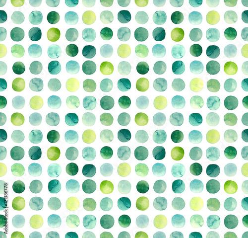 Stoffe zum Nähen Aquarell, grüne, blaue und gelbe Kreise wiederholen Muster
