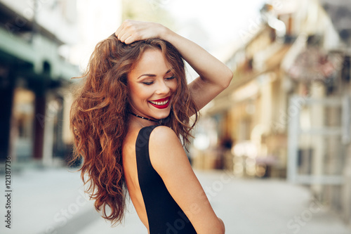 Portrait of a beautiful young happy women