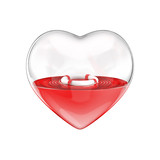 Heart in need of rescue / 3D illustration of glass heart with life ring floating inside
