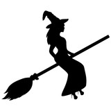 Young witch flying on a broomstick silhouette