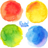 Fototapety Bright colors watercolor painted vector stains set