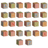 Toy blocks alphabet letters in 3D, isolated vector