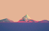 Fototapety Geometric Mountain Landscape with Colorful Gradient