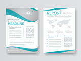 Cover design annual report,vector template brochures, flyers, presentations, leaflet, magazine a4 size. White with green abstract background