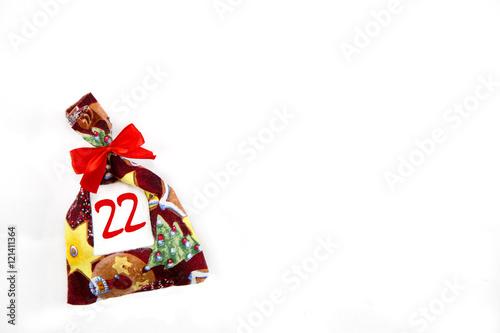 Poster ein kleines Weihnachtssäckchen von einem Weihnachtskalender