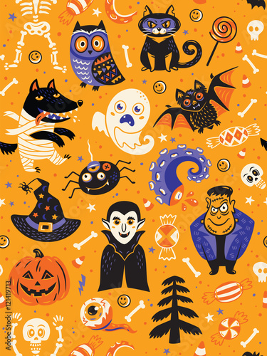 Cotton fabric Cute Halloween seamless pattern with cartoon characters