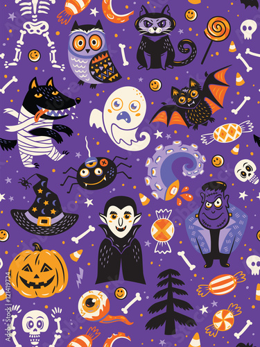 Materiał do szycia Cute Halloween seamless pattern with cartoon characters