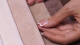 A wide range of color denim female hands side view