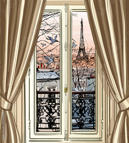 Window with Eiffel tower and roofs view - 121436584