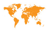 world map orange with borders