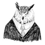 Vector sketch of owl in a suit. Hand drawn illustration