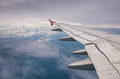 View of wing of airplane from window. - 121449713