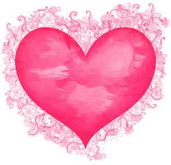Abstract watercolor hearts set