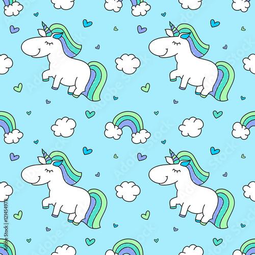Cotton fabric baby seamless pattern with unicorns