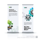 Vector set of modern roll up banner stand design with blue gear