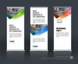 Vector set of modern roll up banner stand design with blue green