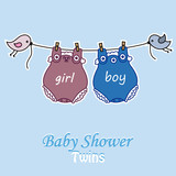 Twins baby shower. Body boy and girl