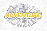 Adventure - Cartoon Yellow Inscription. Business Concept.
