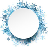 Fototapety Winter round background with snowflakes.
