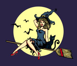 Sexy cute pin-up girl in witch halloween costume riding magic flying broom stick with black cat and full moon vector cartoon illustration