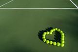 Tennis balls in shape of heart