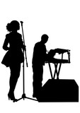 Jazz singers and keyboards on white background