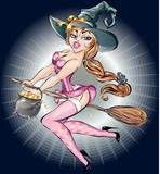 Pin up sexy witch woman flying on broom, halloween costume, vector