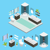 Isometric Bathroom Interior Composition