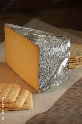 Poster Cornish Yarg Cheese semi-hard cheese wrapped in nettle leaves made in Cornwall E
