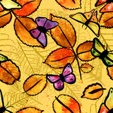 Vector seamless pattern with freehand watercolour butterflies an