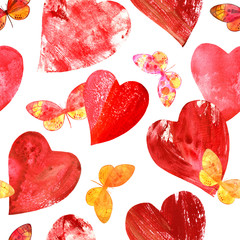 Seamless pattern with print stamped hearts and watercolor butter