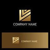square shape letter v gold logo