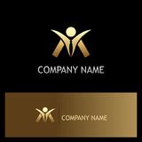 success man happy gold logo