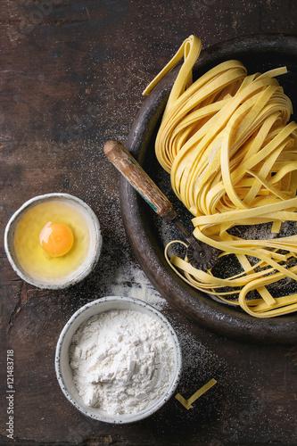 Plakat Raw homemade pasta tagliatelle