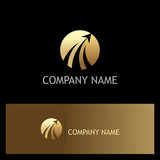 round rise arrow gold business logo
