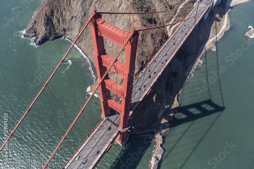Golden Gate Bridge Tower and Marin Headlands Aerial Poster