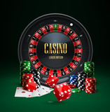 roulette casino chips red dice realistic objects