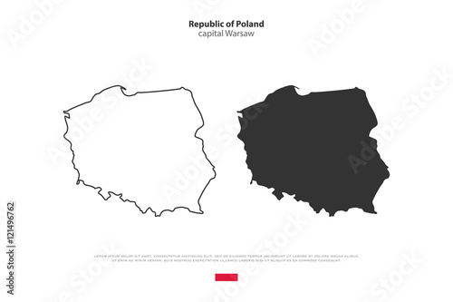Fototapeta Republic of Poland isolated map and official flag icons. vector Polish political maps icons. Central Europe country geographic banner template