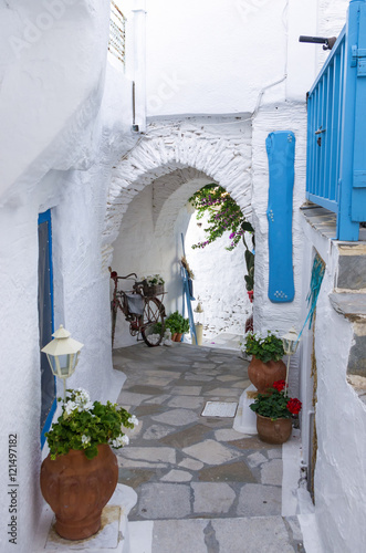 Fototapeta Neighborhood in Ermoupolis, Syros island, Cyclades, Greece