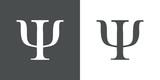 Icono plano simbolo Psi gris