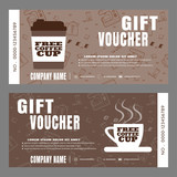 Blank of gift voucher vector illustration to increase the sales of coffee in a cafe.