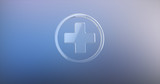 Medical Cross Glass 3d Icon on gradient background